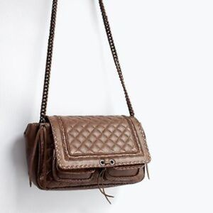 HP🏆Zara Quilted Leather Brown Cross Body City Bag